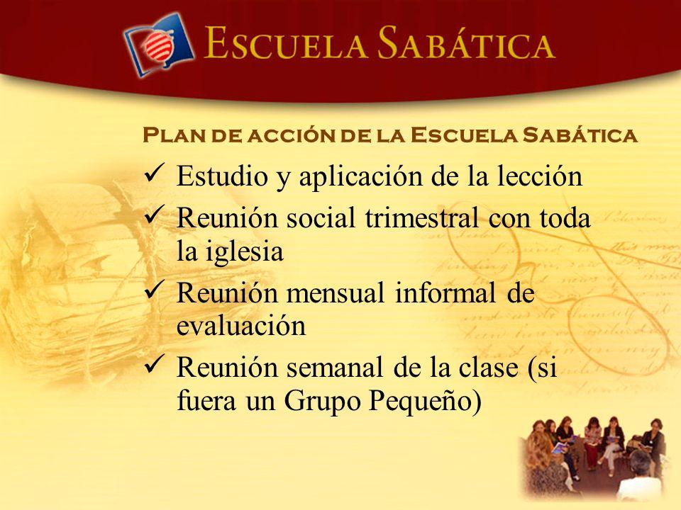 Estudio y aplicación de la lección Reunión social trimestral con toda la iglesia Reunión mensual informal de evaluación Reunión semanal de la clase (s