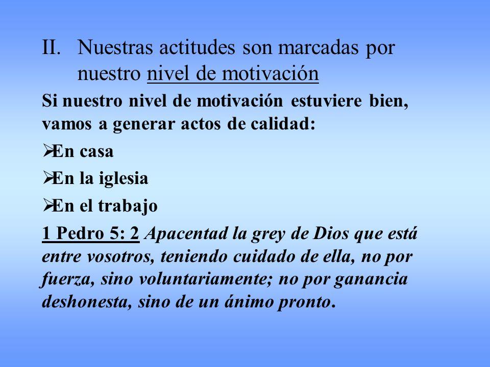 II.Nuestras actitudes son marcadas por nuestro nivel de motivación Si nuestro nivel de motivación estuviere bien, vamos a generar actos de calidad: En