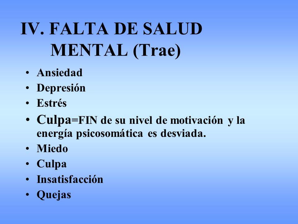 IV. FALTA DE SALUD MENTAL (Trae) Ansiedad Depresión Estrés Culpa =FIN de su nivel de motivación y la energía psicosomática es desviada. Miedo Culpa In