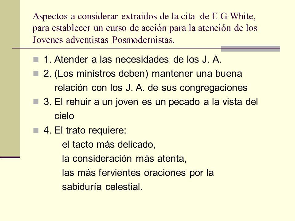Aspectos a considerar extraídos de la cita de E G White, para establecer un curso de acción para la atención de los Jovenes adventistas Posmodernistas