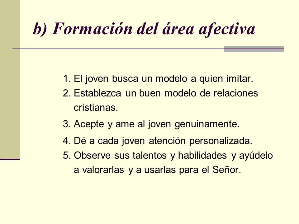 b) Formación del área afectiva 1. El joven busca un modelo a quien imitar. 2. Establezca un buen modelo de relaciones cristianas. 3. Acepte y ame al j