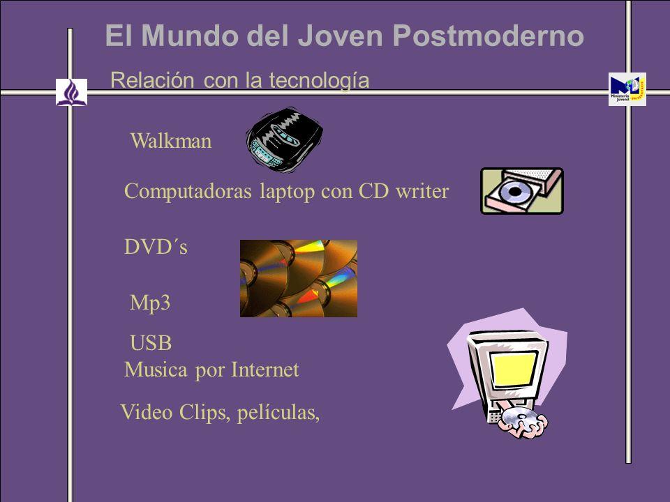 El Mundo del Joven Postmoderno Relación con la tecnología Mp3 USB Video Clips, películas, Computadoras laptop con CD writer Walkman DVD´s Musica por I