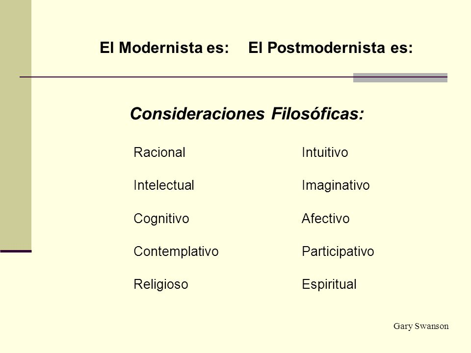 El Modernista es:El Postmodernista es: Consideraciones Filosóficas: RacionalIntuitivo IntelectualImaginativo CognitivoAfectivo ContemplativoParticipat