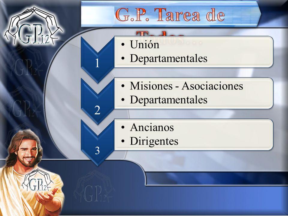1 Unión Departamentales 2 Misiones - Asociaciones Departamentales 3 Ancianos Dirigentes
