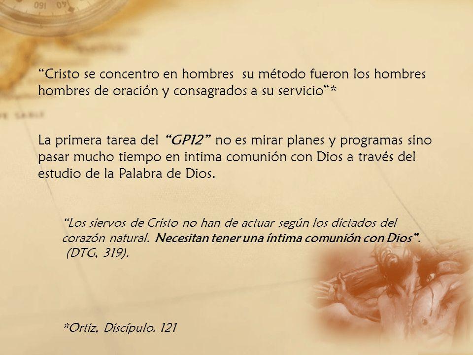Cristo se concentro en hombres su método fueron los hombres hombres de oración y consagrados a su servicio* La primera tarea del GP12 no es mirar plan