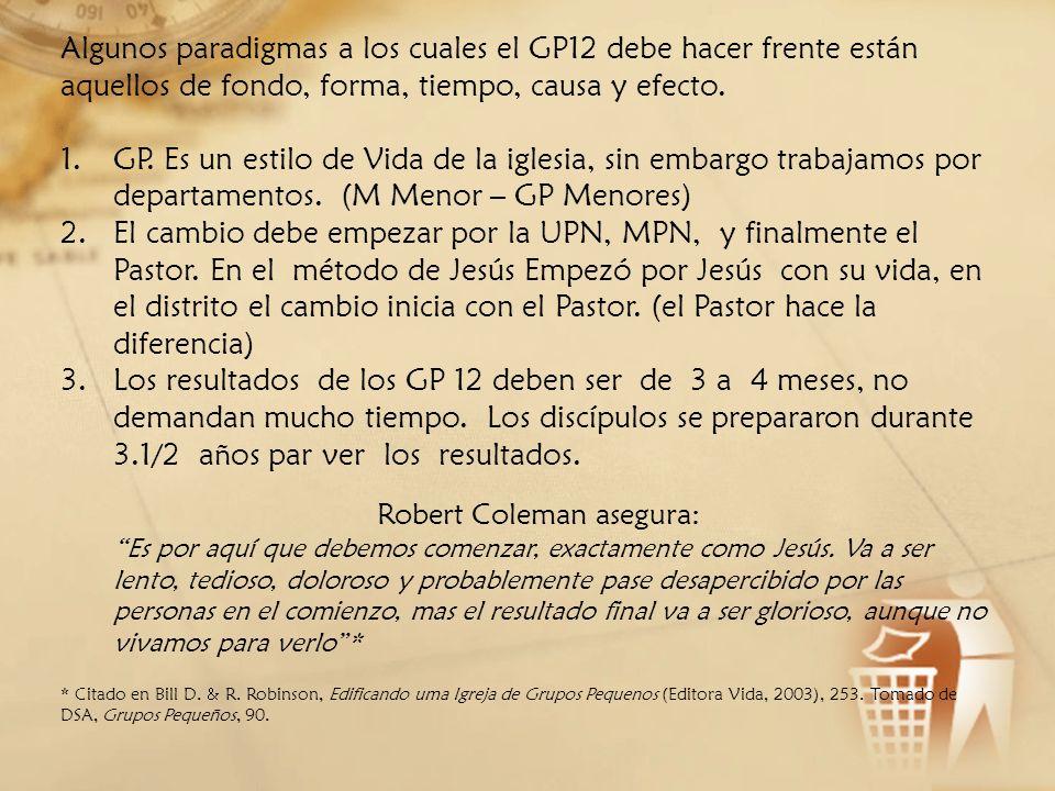Algunos paradigmas a los cuales el GP12 debe hacer frente están aquellos de fondo, forma, tiempo, causa y efecto. 1.GP. Es un estilo de Vida de la igl
