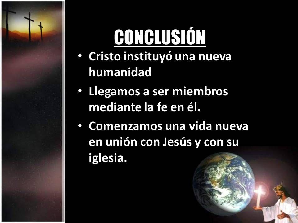 CONCLUSIÓN Cristo instituyó una nueva humanidad Llegamos a ser miembros mediante la fe en él. Comenzamos una vida nueva en unión con Jesús y con su ig