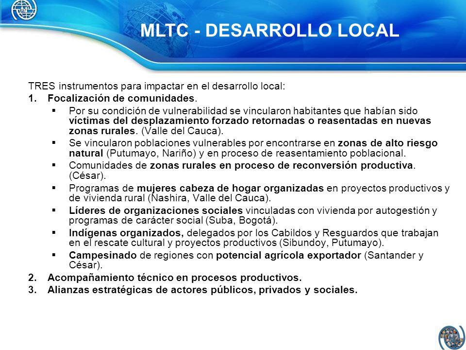 TRES instrumentos para impactar en el desarrollo local: 1.Focalización de comunidades. Por su condición de vulnerabilidad se vincularon habitantes que