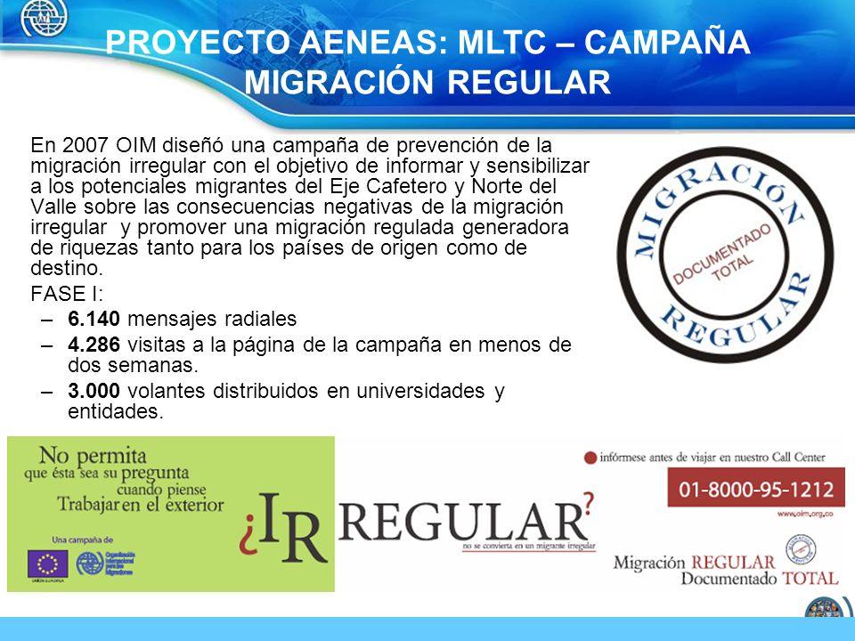 En 2007 OIM diseñó una campaña de prevención de la migración irregular con el objetivo de informar y sensibilizar a los potenciales migrantes del Eje