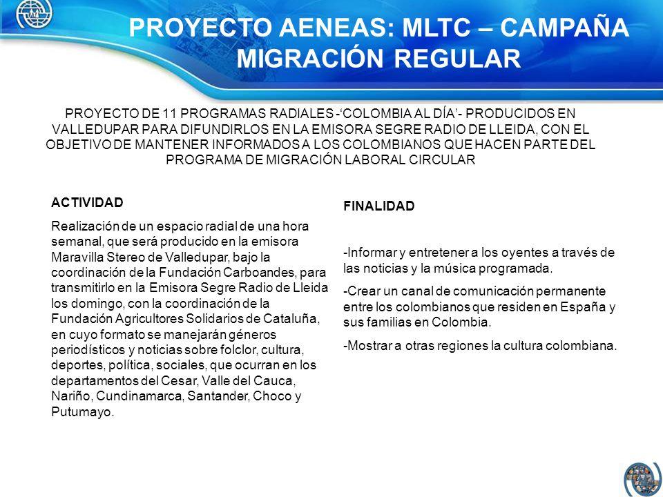 PROYECTO DE 11 PROGRAMAS RADIALES -COLOMBIA AL DÍA- PRODUCIDOS EN VALLEDUPAR PARA DIFUNDIRLOS EN LA EMISORA SEGRE RADIO DE LLEIDA, CON EL OBJETIVO DE