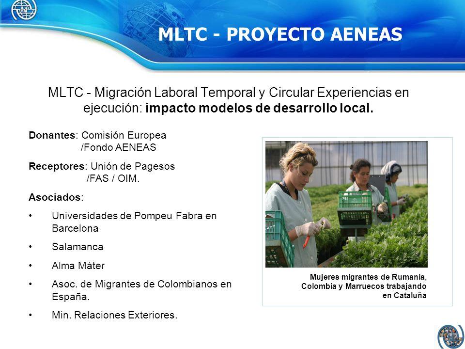 Donantes: Comisión Europea /Fondo AENEAS Receptores: Unión de Pagesos /FAS / OIM. Asociados: Universidades de Pompeu Fabra en Barcelona Salamanca Alma