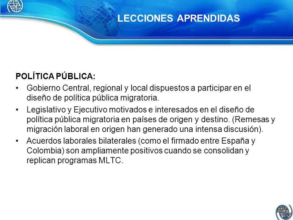 POLÍTICA PÚBLICA: Gobierno Central, regional y local dispuestos a participar en el diseño de política pública migratoria. Legislativo y Ejecutivo moti