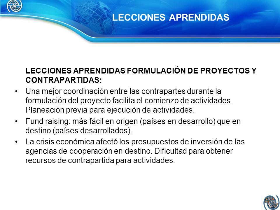 LECCIONES APRENDIDAS FORMULACIÓN DE PROYECTOS Y CONTRAPARTIDAS: Una mejor coordinación entre las contrapartes durante la formulación del proyecto faci