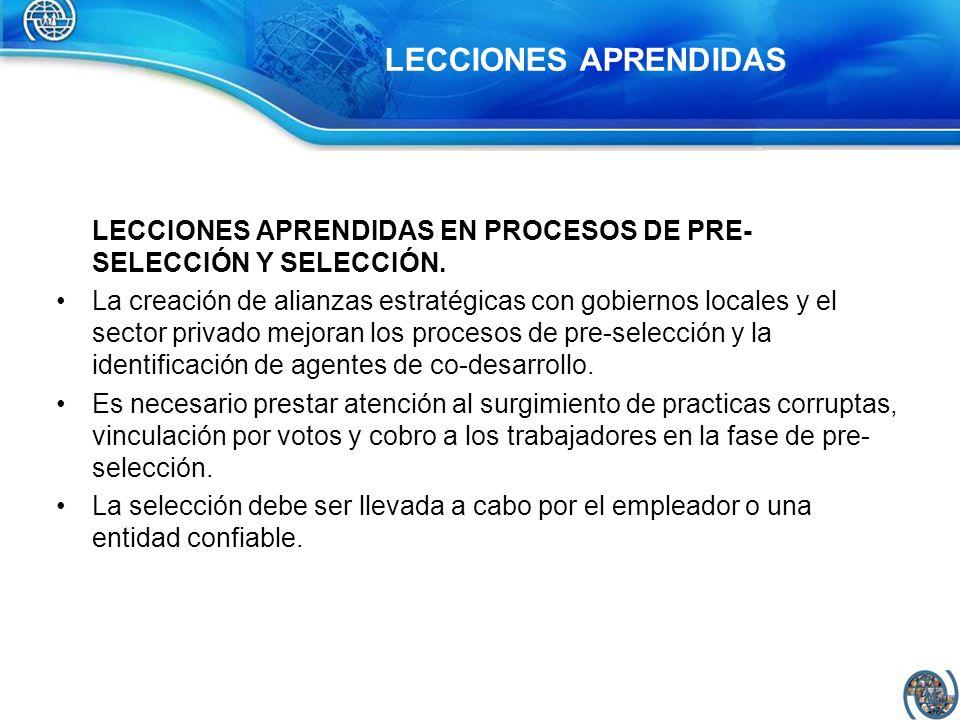 LECCIONES APRENDIDAS EN PROCESOS DE PRE-SELECCIÓN Y SELECCIÓN.
