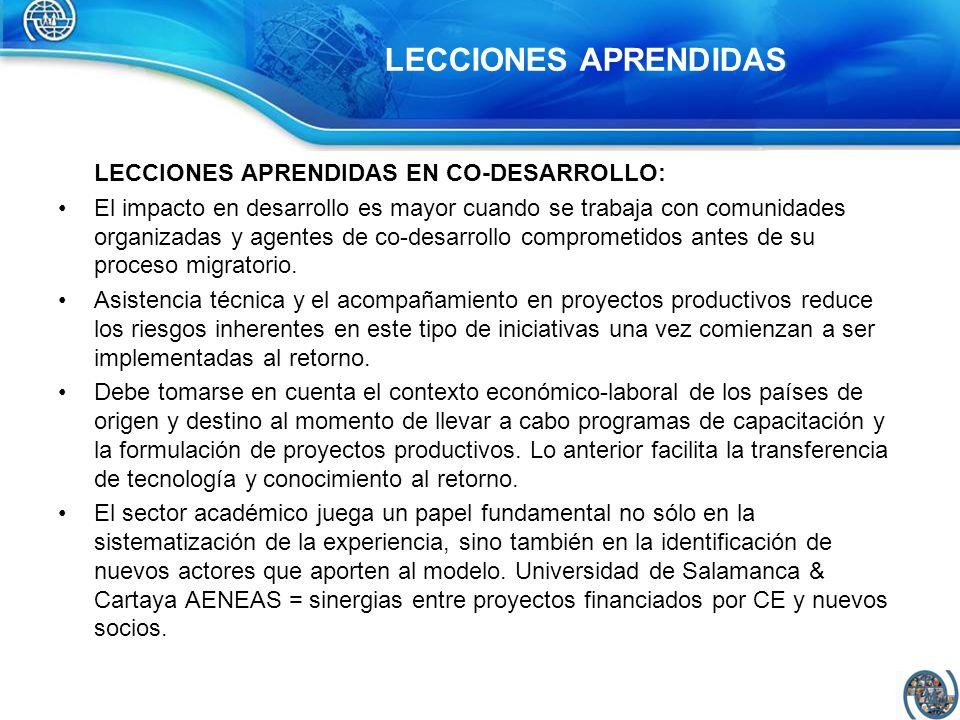 LECCIONES APRENDIDAS EN CO-DESARROLLO: Las remesas como resultado de un proceso de migración laboral no tienen un efecto directo sobre el desarrollo.
