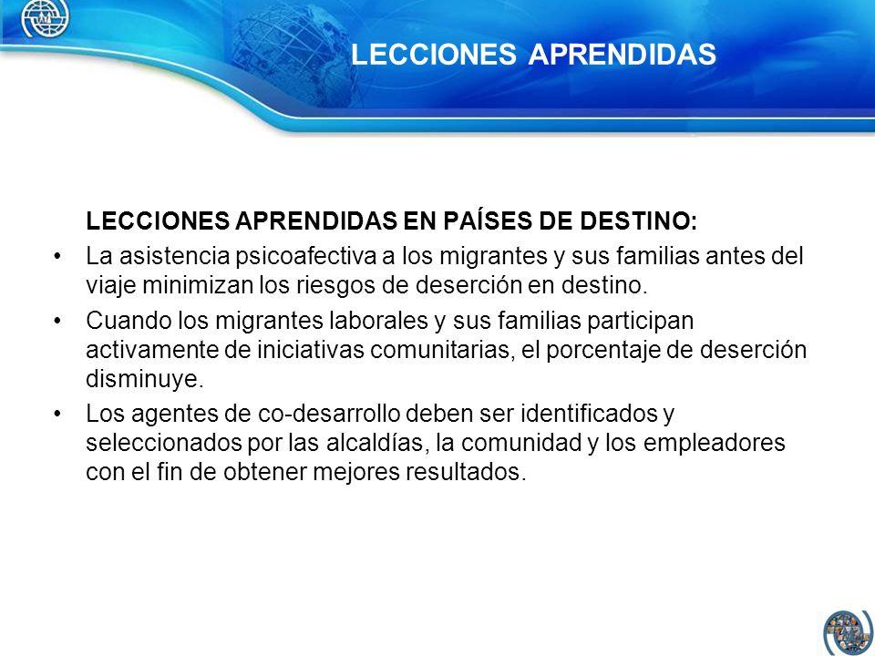 LECCIONES APRENDIDAS EN PAÍSES DE DESTINO: La asistencia psicoafectiva a los migrantes y sus familias antes del viaje minimizan los riesgos de deserci
