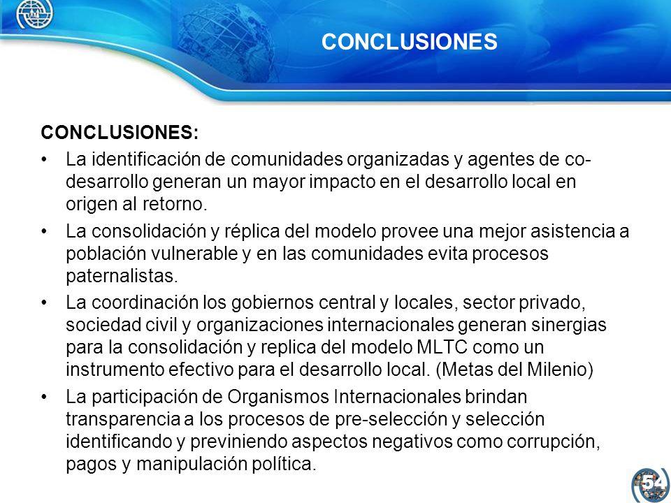 55 CONCLUSIONES: El modelo MLTC facilita la reubicación de comunidades en alto riesgo, reactiva la producción agrícola a través de la canalización de ahorro y la contribución de cooperación internacional.