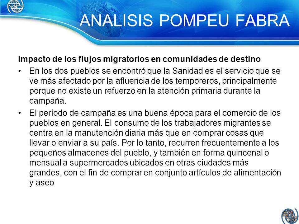 Impacto de los flujos migratorios en comunidades de destino En los dos pueblos se encontró que la Sanidad es el servicio que se ve más afectado por la