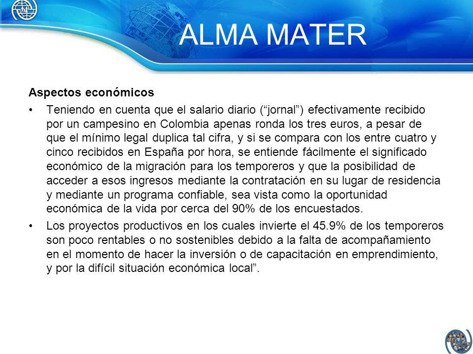 ALMA MATER Aspectos económicos Teniendo en cuenta que el salario diario (jornal) efectivamente recibido por un campesino en Colombia apenas ronda los