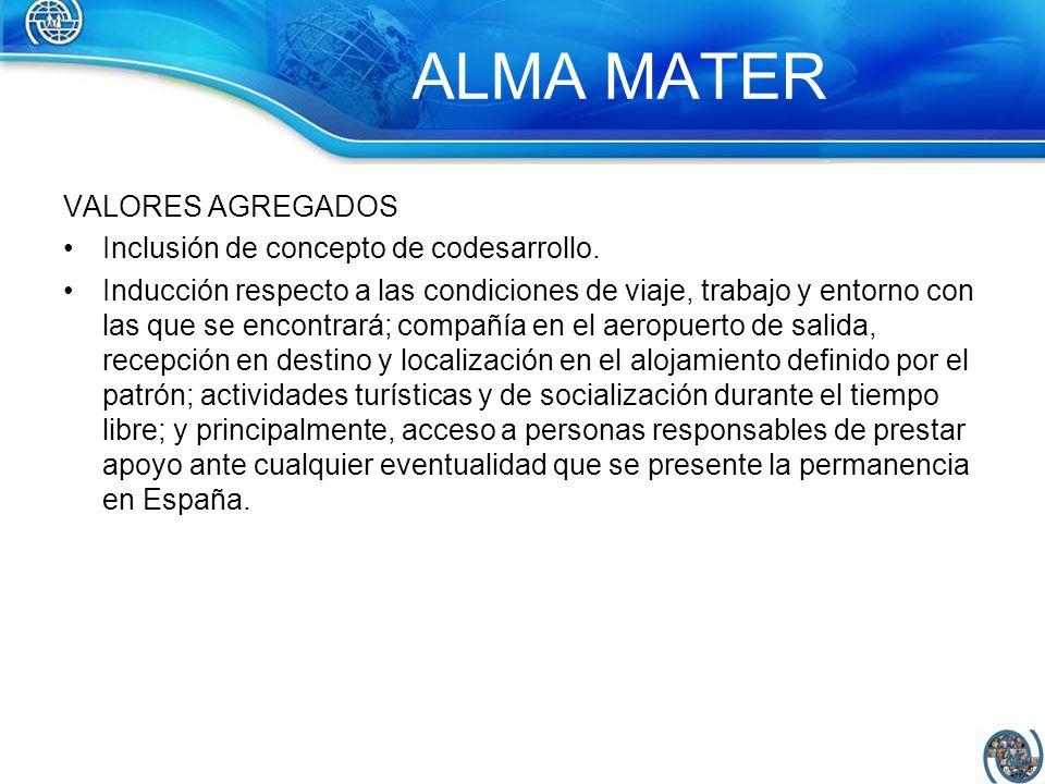 ALMA MATER VALORES AGREGADOS Inclusión de concepto de codesarrollo. Inducción respecto a las condiciones de viaje, trabajo y entorno con las que se en