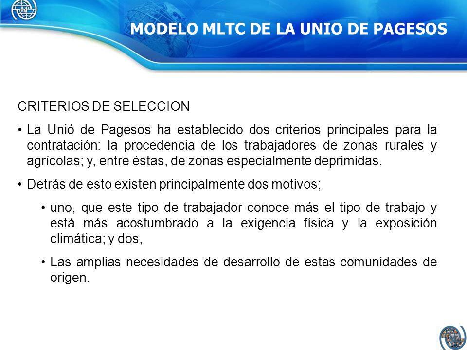 COMPONENTES MODELO MLTC INTERMEDIACION: Lleva a cabo la selección y la contratación de los trabajadores en origen tanto de carácter nominativo como genérico, y se ocupa de las autorizaciones, de la documentación y del visado.