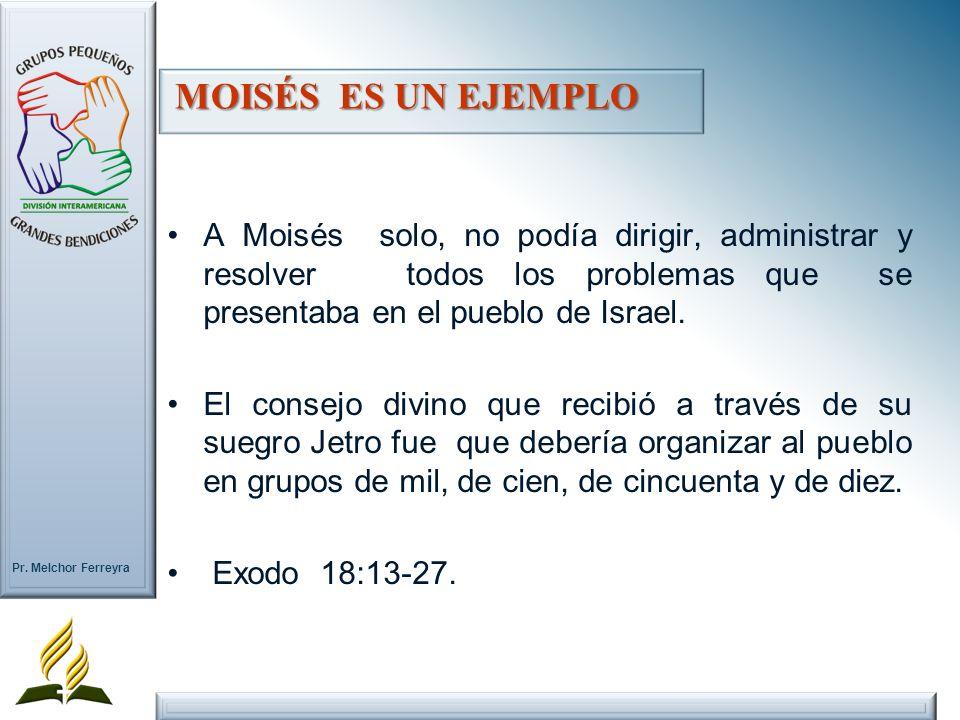 Pr. Melchor Ferreyra A Moisés solo, no podía dirigir, administrar y resolver todos los problemas que se presentaba en el pueblo de Israel. El consejo