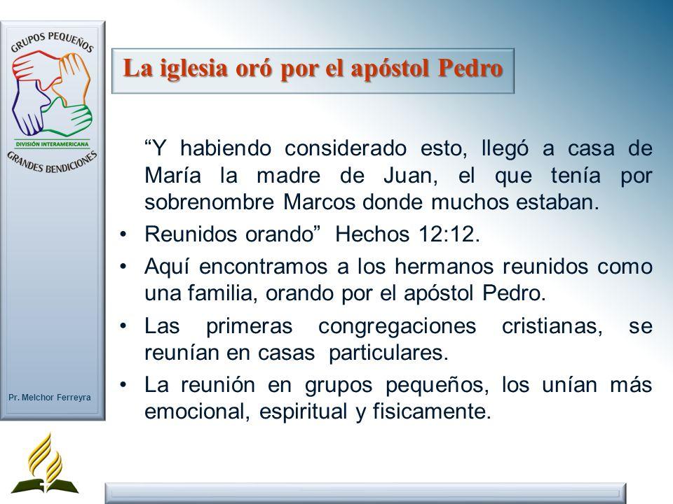 Pr. Melchor Ferreyra Y habiendo considerado esto, llegó a casa de María la madre de Juan, el que tenía por sobrenombre Marcos donde muchos estaban. Re
