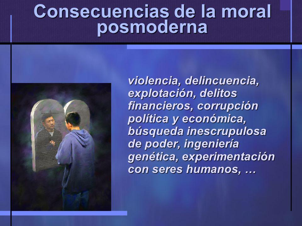 Consecuencias de la moral posmoderna violencia, delincuencia, explotación, delitos financieros, corrupción política y económica, búsqueda inescrupulosa de poder, ingeniería genética, experimentación con seres humanos, …
