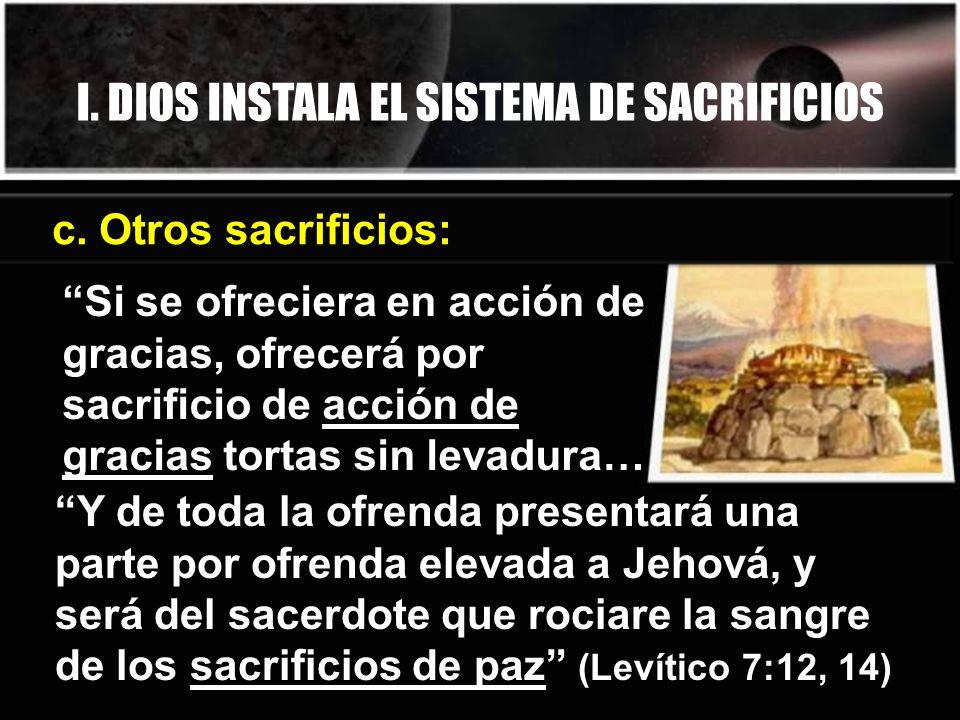 I. DIOS INSTALA EL SISTEMA DE SACRIFICIOS c. Otros sacrificios: Si se ofreciera en acción de gracias, ofrecerá por sacrificio de acción de gracias tor