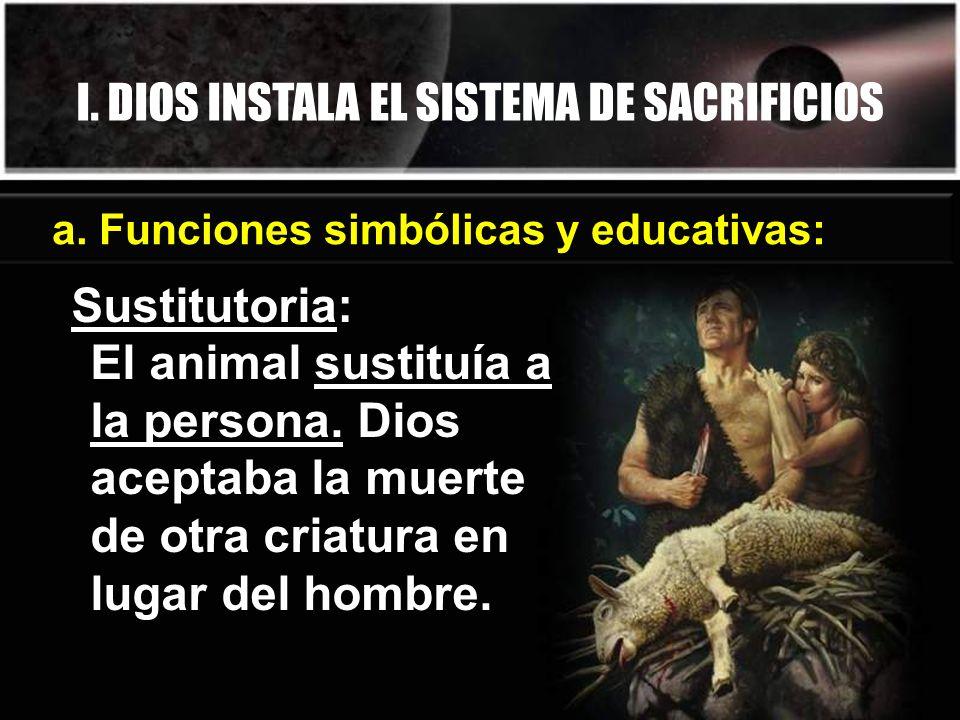 I. DIOS INSTALA EL SISTEMA DE SACRIFICIOS Sustitutoria: El animal sustituía a la persona. Dios aceptaba la muerte de otra criatura en lugar del hombre
