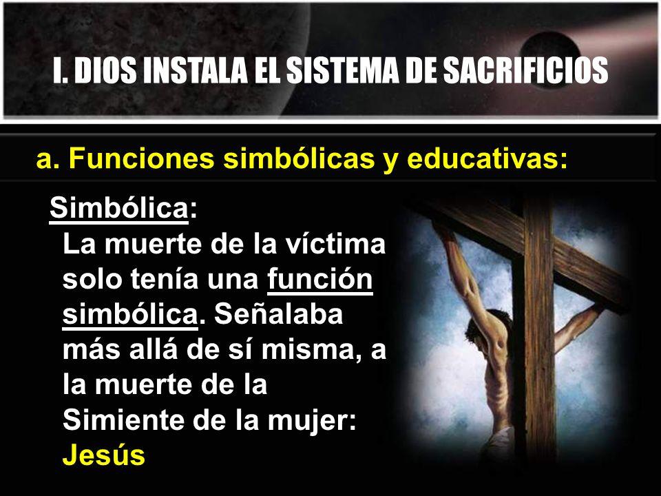 I. DIOS INSTALA EL SISTEMA DE SACRIFICIOS Simbólica: La muerte de la víctima solo tenía una función simbólica. Señalaba más allá de sí misma, a la mue