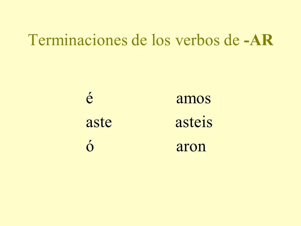 Las reglas para los verbos regulares 1. Quita la terminación (-ir, -er, -ar) 2. Añade la terminación apropriada.