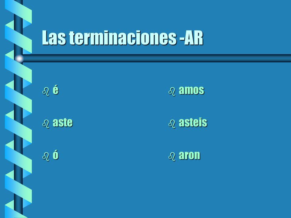 Las reglas de conjugar b 1) Se necesita el infinitivo b 2) Se corta la terminación (-ar, -er, -ir) b 3) Se añade la terminación nueva