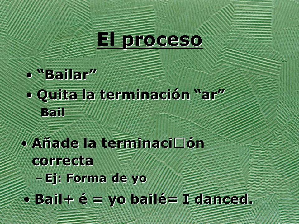 El proceso Bailar Quita la terminación ar Bail Quita la terminación ar Bail Añade la terminación correcta –Ej: Forma de yo Añade la terminación correcta –Ej: Forma de yo Bail+ é = yo bailé= I danced.