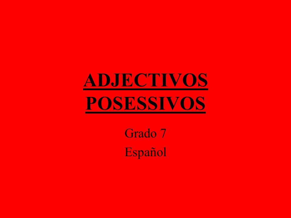 ADJECTIVOS POSESSIVOS Grado 7 Español