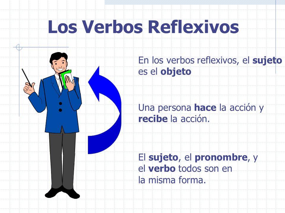 Los Verbos Reflexivos En los verbos reflexivos, el sujeto es el objeto Una persona hace la acción y recibe la acción.