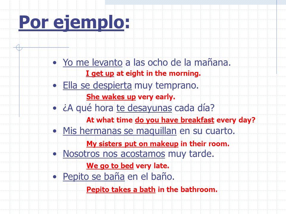 Los Verbos Reflexivos En los verbos reflexivos, el sujeto es el objeto Una persona hace la acción y recibe la acción. El sujeto, el pronombre, y el ve