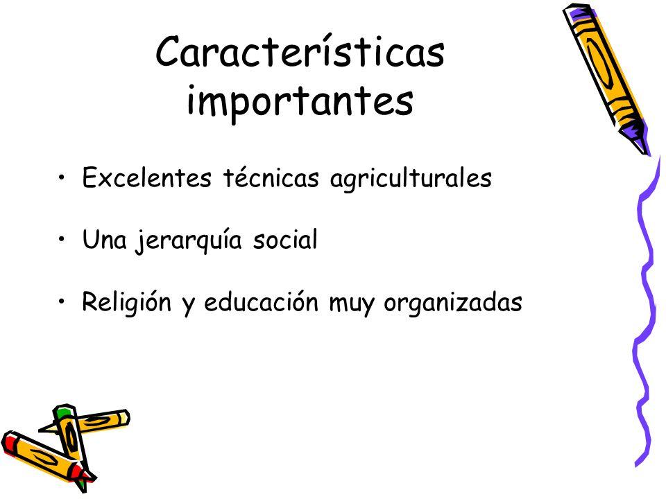 Características importantes Excelentes técnicas agriculturales Una jerarquía social Religión y educación muy organizadas