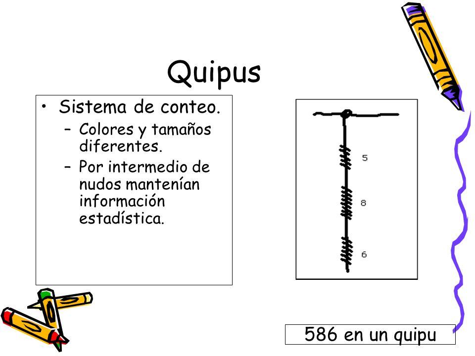 Quipus Sistema de conteo. –Colores y tamaños diferentes. –Por intermedio de nudos mantenían información estadística. 586 en un quipu