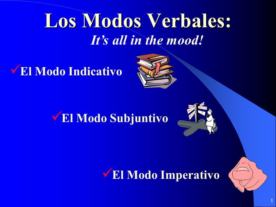 1 Los Modos Verbales: El Modo Subjuntivo El Modo Imperativo El Modo Indicativo Its all in the mood!