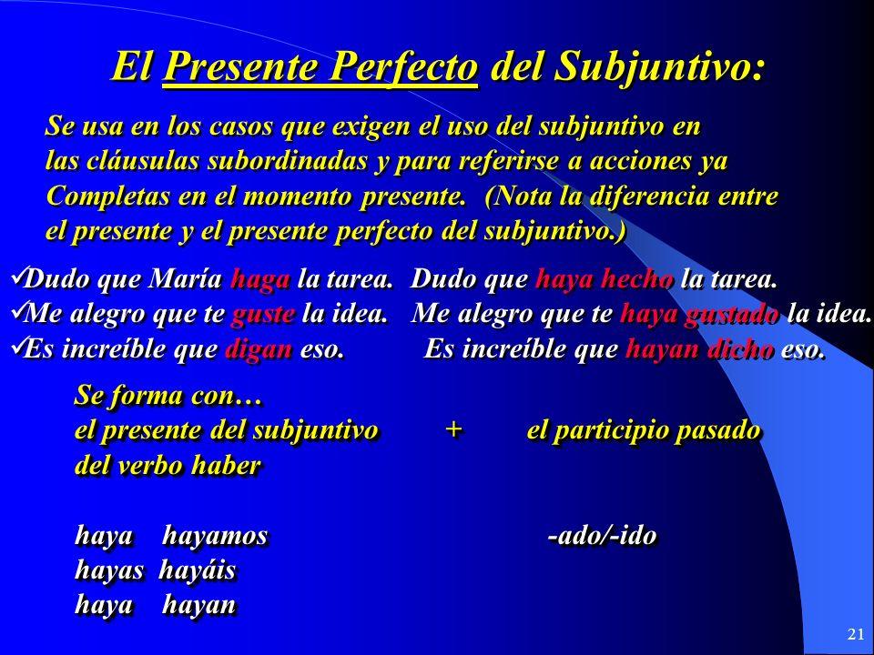 20 El Presente perfecto del subjuntivo