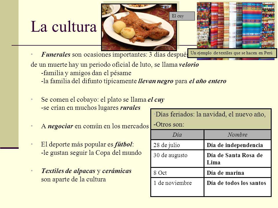 Los sitios del red http://www.tel24x7.com/images/Countrymaps/Peru.PNG http://en.wikipedia.org/wiki/Peru#Demographics http://en.wikipedia.org/wiki/Languages_of_Peru http://www.world-guides.com/images/callao/callao_map.jpg http://farm3.static.flickr.com/2168/2240880348_c728c75ea3.jpg http://www.ddg.com/LIS/aurelia/pereco.htm http://shalomplustm.com/radio/wp-content/uploads/2009/09/Jorge-Del-Castillo-1.jpg http://www.ismission.org/files/imagecache/countrymap/penewzz.gif http://www.break-fresh-ground.com/photos/785/673/103/65509.jpg http://www.pbp.sevier.org/Pizarro/Pizarro/images/img-francisco-pizarro.gif http://www.personal.psu.edu/krk5046/image003.jpg http://latimesblogs.latimes.com/laplaza/2009/11/peru-racism-afroperuvian-el-peruano-nidia-vilchez-black-peruvians- multicultural.html http://www.nytimes.com/2009/11/28/business/global/28bizbriefs-PERUSIGNSFRE_BRF.html http://www.reuters.com/article/marketsNews/idUSN2743353620091127 http://www.nytimes.com/2009/11/18/world/americas/18briefs-Perubrief.html https://www.cia.gov/library/publications/the-world-factbook/geos/pe.html http://online.culturegrams.com/world/world_country.php?&contid=7&wmn=South_America&cn=Peru&cid=125 http://regmedia.co.uk/2006/11/24/guinea_pig.jpg http://www.latintourdimensions.com/images_up/textile.jpg