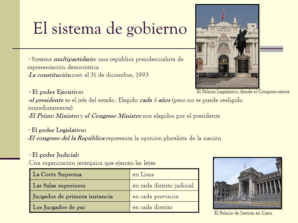 El sistema de gobierno Sistema multipartidario : una república presidencialista de representación democrática - La constitución creó el 31 de diciembr
