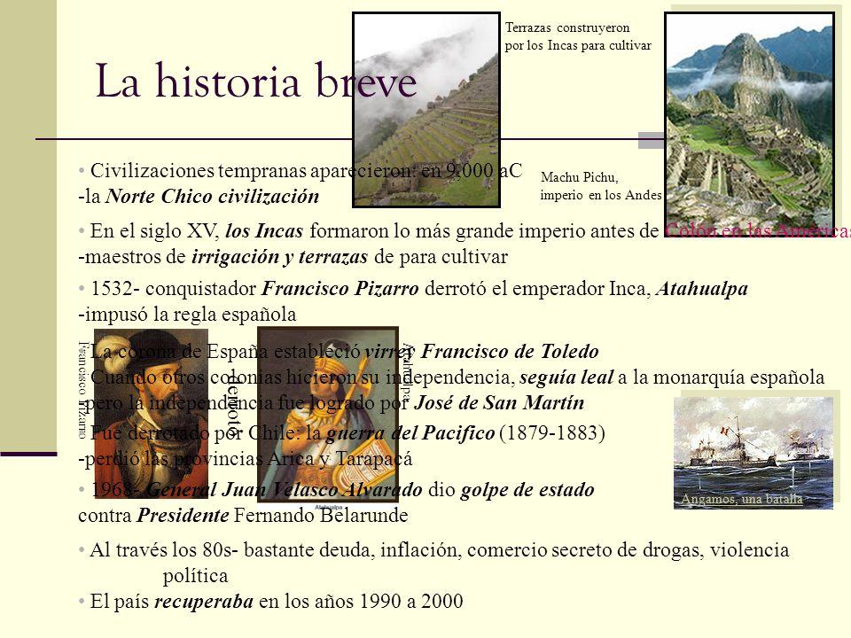 Francisco Pizarro Atahualpa derrotó Terrazas construyeron por los Incas para cultivar Terrazas construyeron por los Incas para cultivar Machu Pichu, i