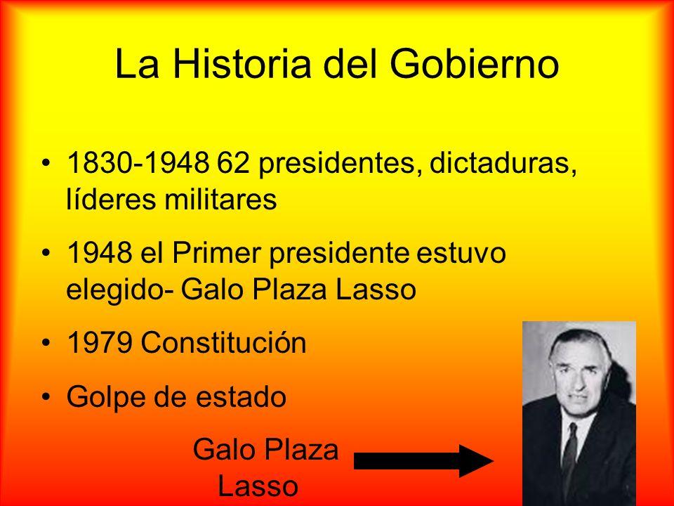 La Historia del Gobierno 1830-1948 62 presidentes, dictaduras, líderes militares 1948 el Primer presidente estuvo elegido- Galo Plaza Lasso 1979 Const