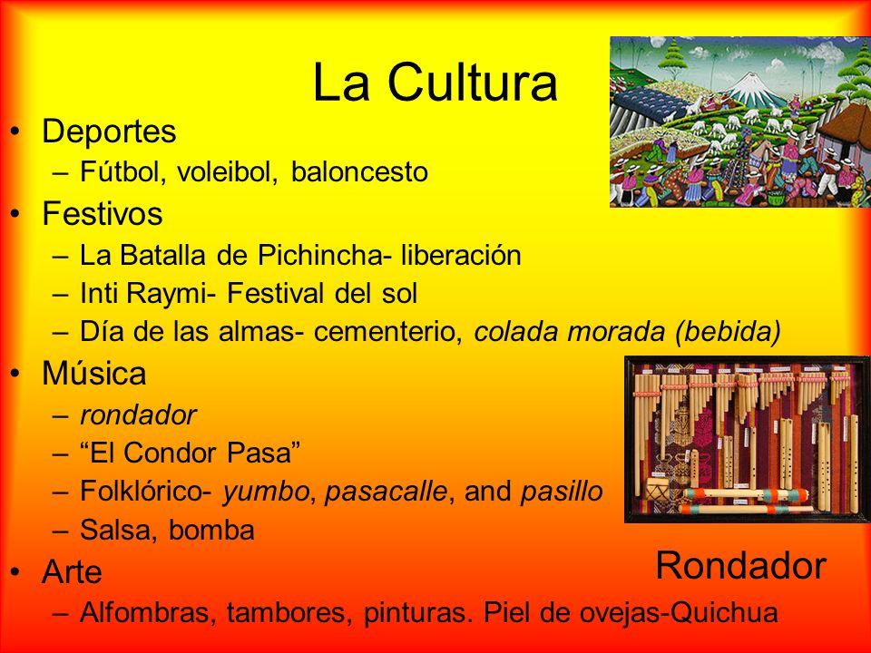 La Cultura Deportes –Fútbol, voleibol, baloncesto Festivos –La Batalla de Pichincha- liberación –Inti Raymi- Festival del sol –Día de las almas- cemen