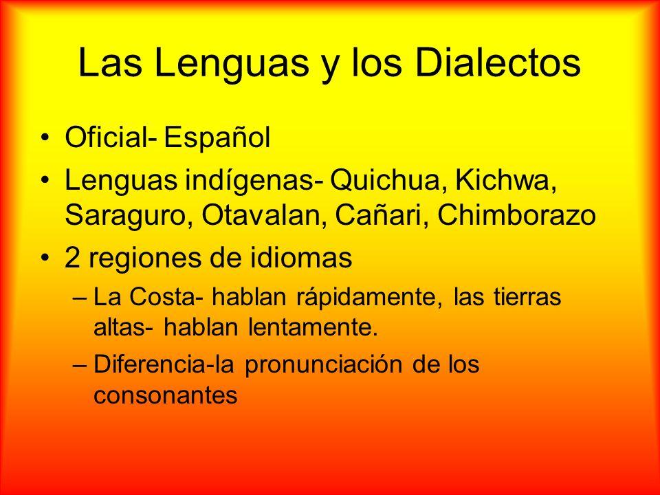 Las Lenguas y los Dialectos Oficial- Español Lenguas indígenas- Quichua, Kichwa, Saraguro, Otavalan, Cañari, Chimborazo 2 regiones de idiomas –La Cost