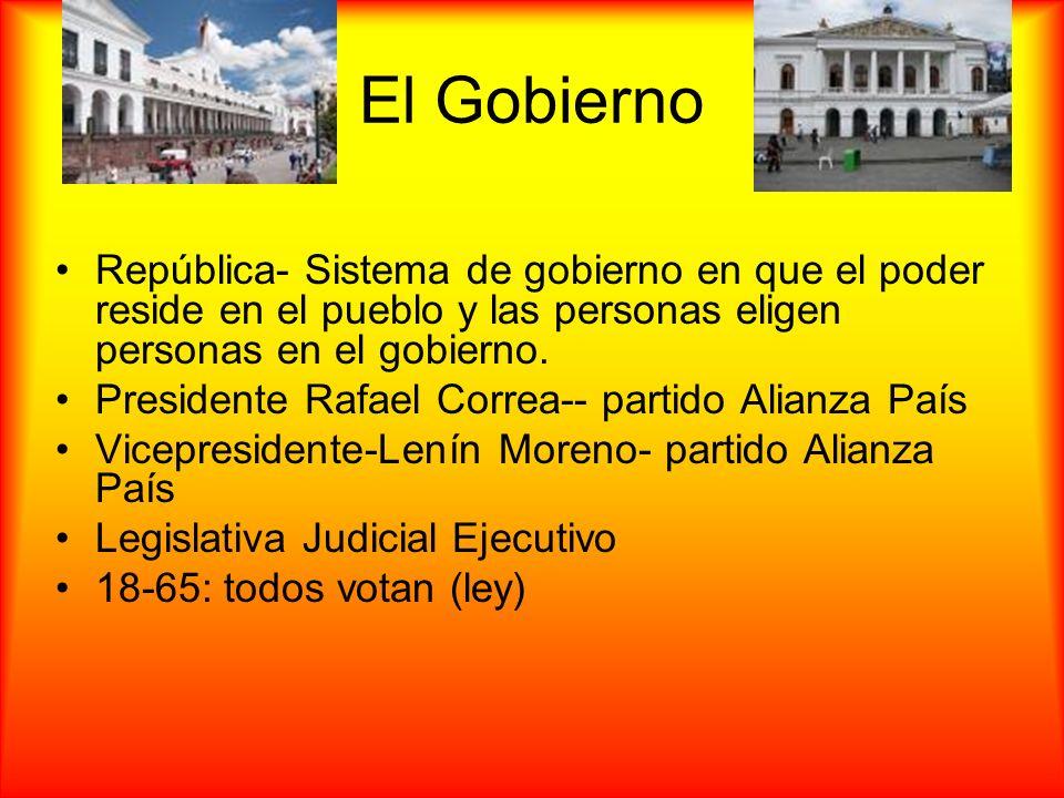 El Gobierno República- Sistema de gobierno en que el poder reside en el pueblo y las personas eligen personas en el gobierno. Presidente Rafael Correa