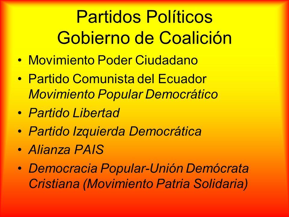 Partidos Políticos Gobierno de Coalición Movimiento Poder Ciudadano Partido Comunista del Ecuador Movimiento Popular Democrático Partido Libertad Part