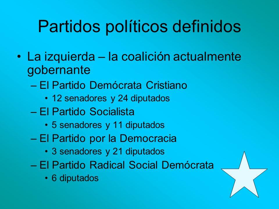 Partidos políticos definidos La izquierda – la coalición actualmente gobernante –El Partido Demócrata Cristiano 12 senadores y 24 diputados –El Partid